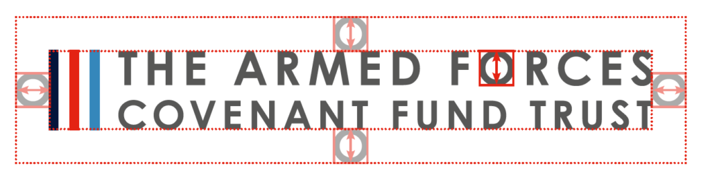Armed Forces Covenant Fund logo, with branding markings to show the spacing around it