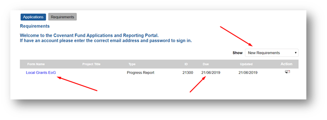 An image of the grant reporting interface in the reporting portal