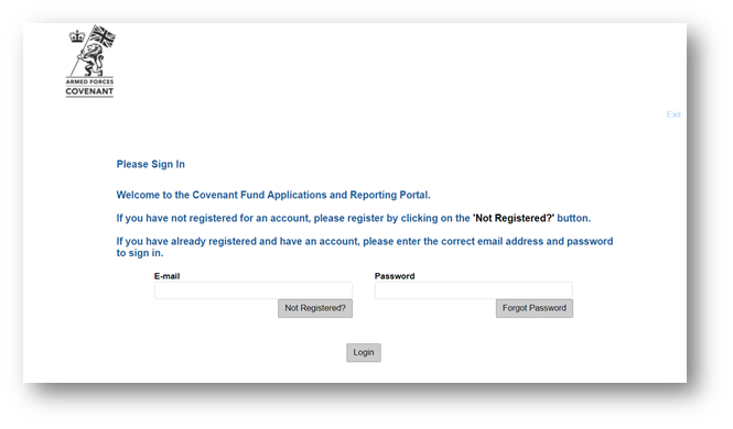 A screen shot of the applications and reporting portal. Users enter their email address and password