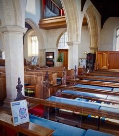 Silhouettes in a church