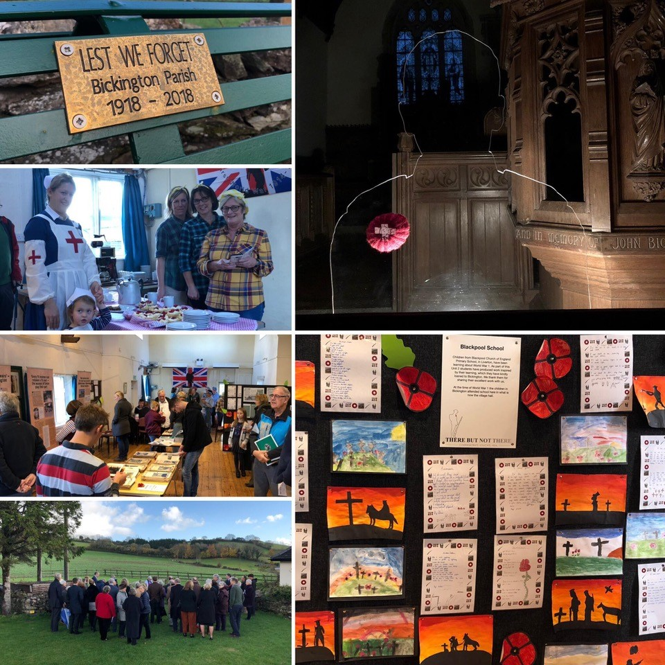 A colllection of seven images showing people from the local community engaging in commemoration activities and childrens artwork