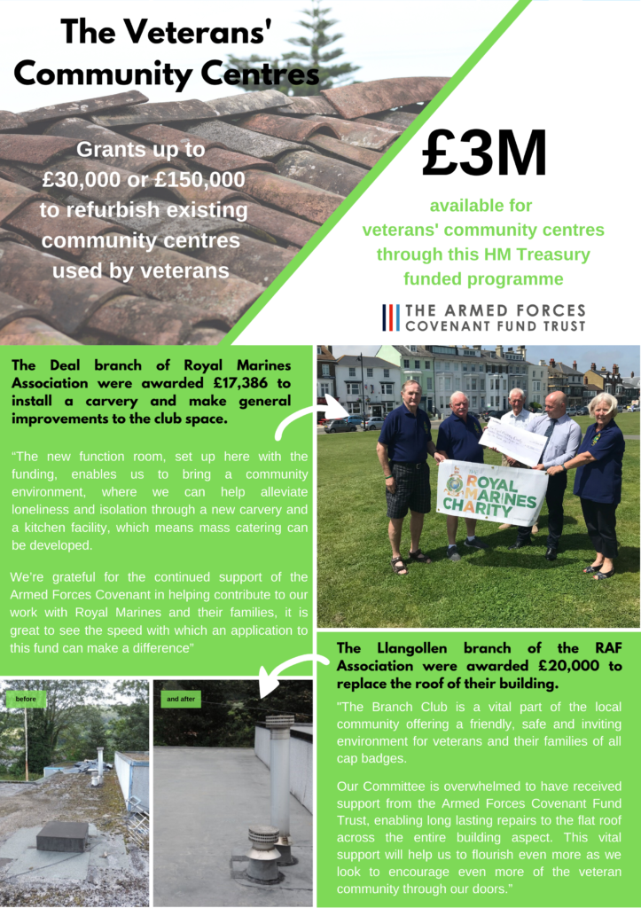 Graphic of the programme.   The programme awarded grants up to £30,000 or up to £150,000 to refurbish existing community centres used by veterans.   There are pictures of veterans celebrating in Deal, Kent and before and after pictures of a refurbished roof in Llangollen, Wales