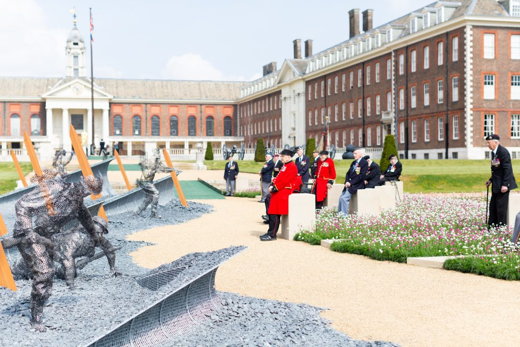 The D-Day 75 garden at the Chelsea Flower Show. Chelsea pensioners are visiting the garden