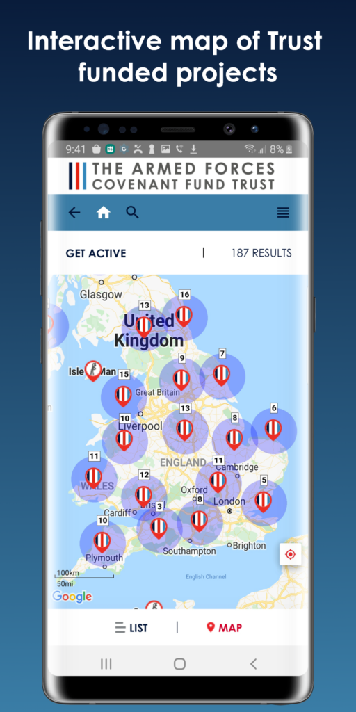 screen shot of interactive map featured on the AFCT project finder