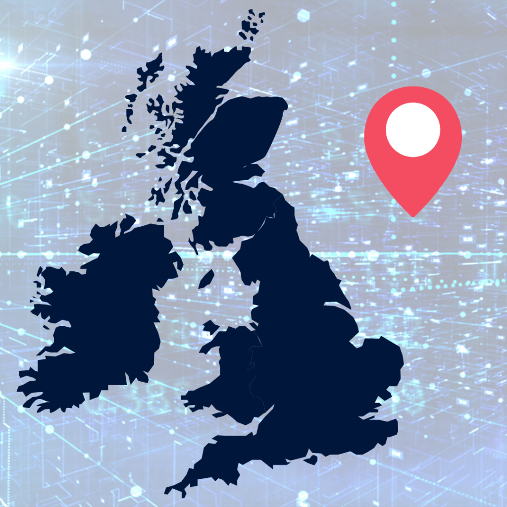 A map of the UK, with a background of data and a map pin