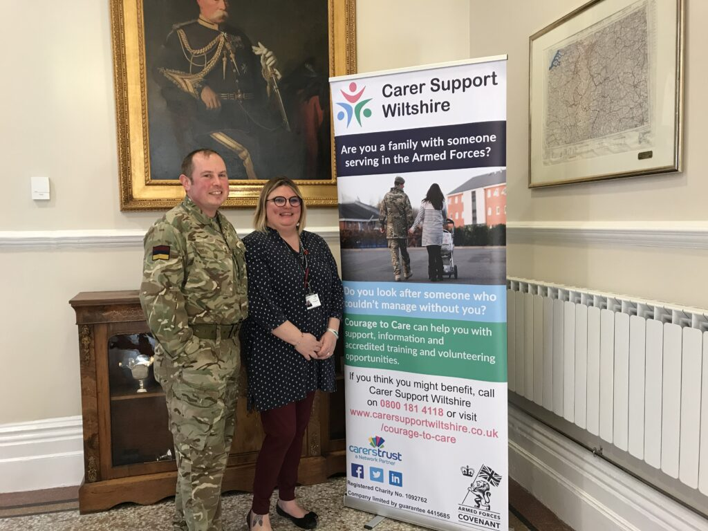 A serving member of the Armed Forces with a person from Carer Support Wiltshire
