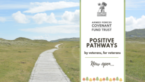 Positive Pathways Programme Logo- a decked path leading to the distance surrounded by green fields